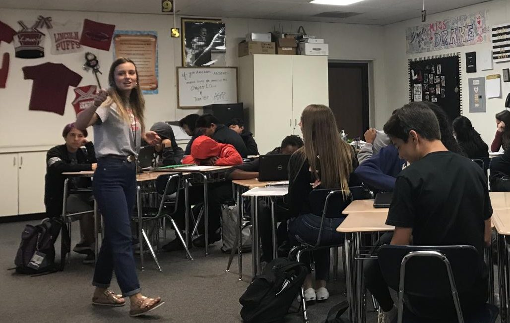 Math 9 teacher Megan Drake guides her class through a lesson on Sept. 14.