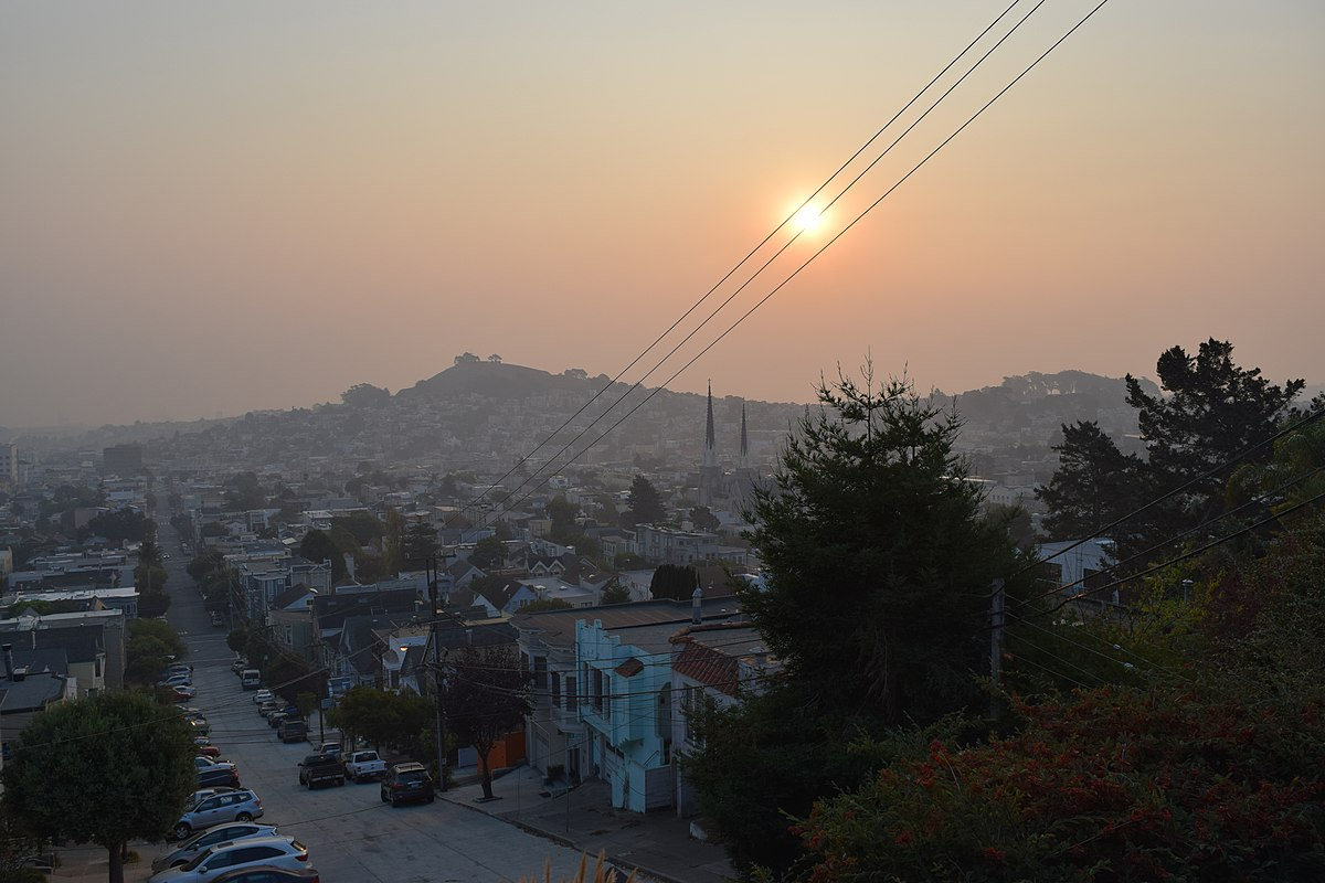 A Smoky sunrise over Bernal Heights on Saturday, November 10. Taken from Noe Valley.